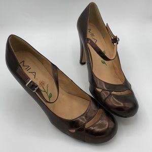 MIA Gigi Mary Jane Heel in Metallic Leather Bronze